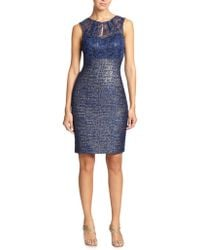 Kay Unger Lace & Tweed Dress - Lyst
