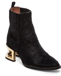 Jeffrey Campbell Dempsy Bootie With Cow Hair - Lyst