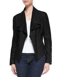 Kors by Michael Kors - Leather Drape-Front Jacket - Lyst