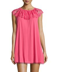RED Valentino Lacecollar Pleated Babydoll Dress - Lyst