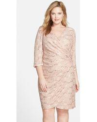 Alex Evenings Sequin Lace Cocktail Dress - Lyst