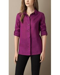 Burberry Purple Ramie Shirt - Lyst