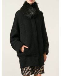 Roberto Cavalli Fur Collar Oversized Coat - Lyst
