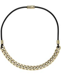 Michael Kors Goldtone Chain Leather Necklace - Lyst