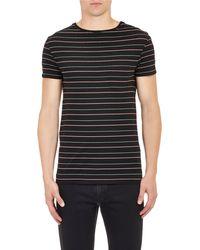 Saint Laurent Multicolor Finestripe Tshirt - Lyst