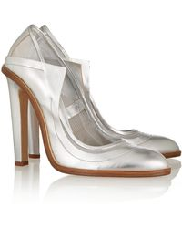 Christopher Kane Metallic Leather and Mesh Pumps - Lyst