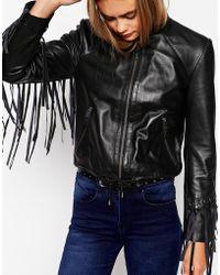 Asos Biker Jacket With Fringe Detail In Leather - Lyst