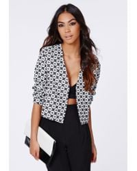 Missguided Rosey Geo Cropped Jacket  - Lyst