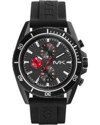 Michael Kors Oversize Black Silicone Jetmaster Chronograph Watch - Lyst