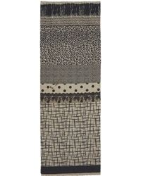 Pierre Louis Mascia - Black and White Multiprint Woolblend Double Sided Scarf - Lyst