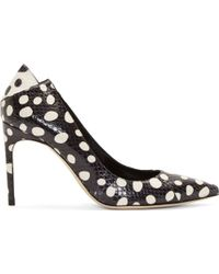Brian Atwood Navy and White Dot Print Mercury Pumps - Lyst