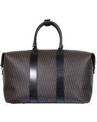 Saint Laurent Black Leather And Canvas Print Monogram Suitcase black - Lyst
