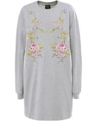 McQ by Alexander McQueen Floral Embroidered Jersey Dress - Lyst