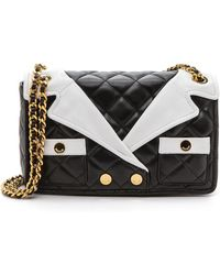 Moschino Leather Shoulder Bag - Blackwhite - Lyst