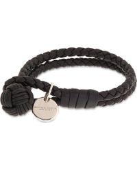 Bottega Veneta Double Woven Leather Bracelet Nero - Lyst