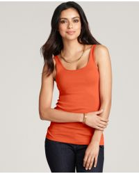 Ann Taylor Cotton Scoop Neck Ribbed Tank - Lyst