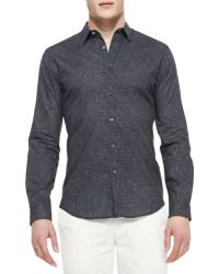 Theory Navy Printed Woven Shirt - Lyst