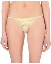 Id Sarrieri Floral-lace Satin Thong - Lyst