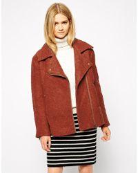 Ganni Collared Wool Mix Biker Jacket - Lyst
