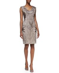 Sue Wong Sleeveless Embroidered Cocktail Dress - Lyst