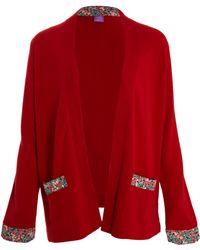 Liberty - Red Liberty Print Pocket Cashmere Cardigan - Lyst