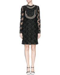 Lanvin Pearl Neckline Floral Embroidery Silk-Linen Dress black - Lyst