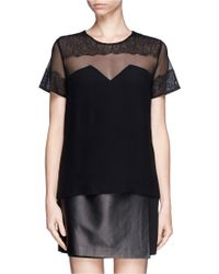 Sandro Enola Sheer Lace Trim Top - Lyst