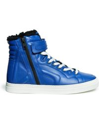Pierre Hardy Leather Shearling High-top Sneakers - Lyst