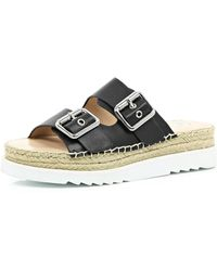 River Island Black Buckle Flatform Sandals black - Lyst