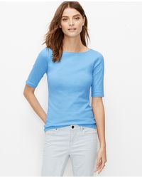 Ann Taylor Cotton Boatneck Tee blue - Lyst