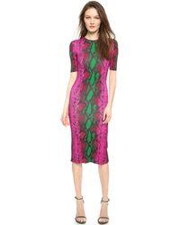 House Of Holland Snake Print Midi Dress - Pink Snake - Lyst