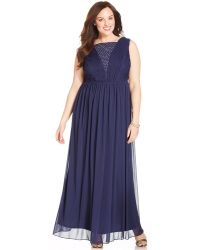 Alex Evenings Plus Size Rhinestone-Trim V-Back Gown - Lyst