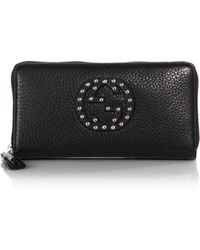 Gucci Soho Leather Zip-Around Wallet black - Lyst