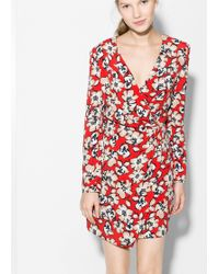 Mango Floral Wrap Dress - Lyst