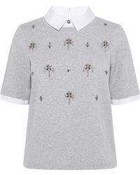 Karen Millen Embellished Sweatshirt - Lyst