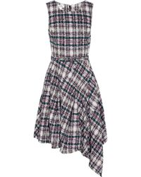 Oscar de la Renta Asymmetric Cotton Blend Tweed Dress - Lyst