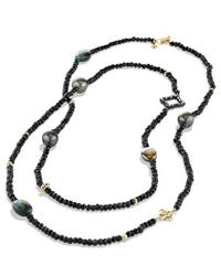 David Yurman Dy Signature Bead Necklace in Gold - Lyst