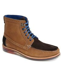 Ted Baker 'Phynn' Suede Moc Toe Boot brown - Lyst