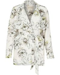 River Island Grey Floral Print Trench Jacket - Lyst