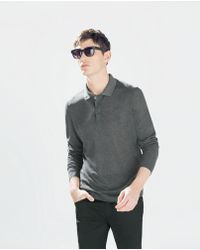 Zara Long-Sleeved Plain Polo Shirt - Lyst