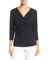 NIC+ZOE | Solid Faux Wrap Top | Lyst