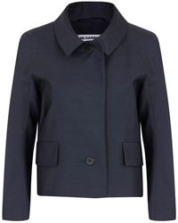 Jil Sander Rockefeller Dark Blue Cropped Wool and Silk Blend Jacket - Lyst