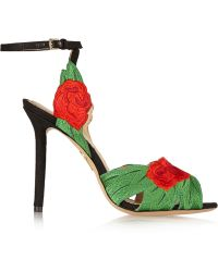 Charlotte Olympia Roselina Embroidered Satin Sandals - Lyst