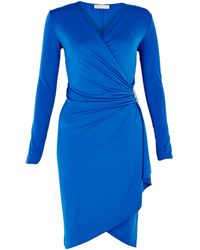 Michael by Michael Kors Blue Wrap Cascade Dress - Lyst