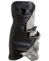 Anthony Vaccarello Metal Embellished Leather Dress - Lyst