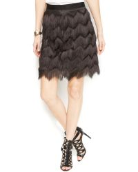 Vince Camuto Fringed Tiered Mini Skirt - Lyst
