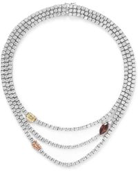 Cz By Kenneth Jay Lane Coloured Station Cubic Zirconia Necklace - Lyst