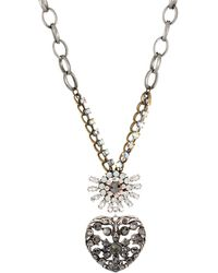 Betsey Johnson Crystal Heart Pendant Necklace - Lyst