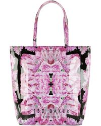 Ted Baker Tulicon Floralprint Large Shopper Bag Black - Lyst