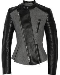 3.1 Phillip Lim Leatherpaneled Woolblend Biker Jacket - Lyst